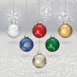Christmas balls. Color christmas balls with snow and flakes Royalty Free Stock Photos