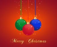 Christmas balls. A christmas background with hanging christmas balls Stock Photography