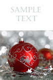 Christmas balls. Christmas card with copy space royalty free stock image