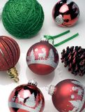 Christmas balls. With pinecone and decorations Royalty Free Stock Image
