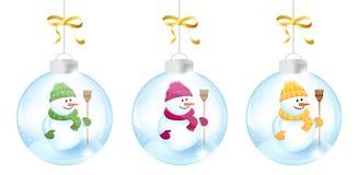 Christmas Balls. Three Christmas Balls With a Snowman Stock Photography