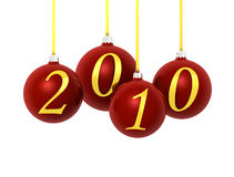 Christmas balls 2010. Four red balls with gold numbers on white background vector illustration
