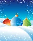 Christmas balls. Tree christmas balls with snow Stock Images
