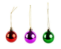 Christmas balls. Three christmas balls on white background stock photo