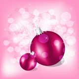Christmas balls. On background with snowflakes and stars Royalty Free Stock Photography