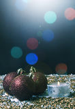 Christmas balls. Red Christmas balls on a lights background Royalty Free Stock Photo