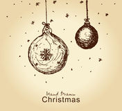 Christmas balls. Hand drawn vintage christmas balls for xmas design Stock Image