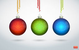 Christmas balls. Hanging with ribbons on white background Stock Illustration