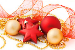 Christmas balls. And stars on white background Stock Photo