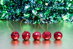 Christmas balls. Five christmas balls in the line Stock Photo