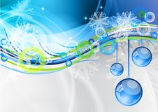 Christmas balls. Blue balls under the wave vector illustration