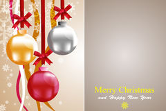 Christmas balls. Christmas balls with silver, red, gold for making greeting cards Royalty Free Stock Photography