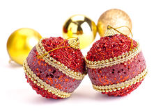 Christmas Balls. Group Christmas balls isolated on white royalty free stock photos
