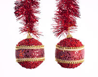 Christmas Balls. Hanging from their belts ornament royalty free stock images