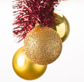 Christmas Balls. Hanging from their belts ornament royalty free stock image