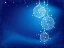 Christmas balls. Shiny white Christmas balls on blue background Stock Photo