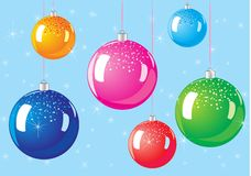 Christmas balls. Vector illustration christmas toys, christmas balls in different colors, glitter Royalty Free Stock Images