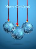 Christmas balls. With ornament of snowflakes Stock Photos