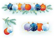 Christmas balls. Christmas wreath with fir branches with balls and a few songs with Christmas balls Stock Images