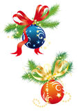 Christmas balls. Christmas composition with balls and fir branches on a white background Stock Photo