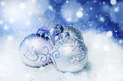 Christmas balls. Blue elegant Christmas balls decoration Stock Photo