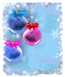 Christmas balls. Vector background with christmas balls on blue Royalty Free Illustration