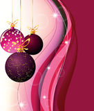 Christmas balls. Picture with Christmas balls on a claret background with waves Royalty Free Stock Images