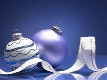 Christmas balls. On the blue background Stock Photo