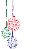 Christmas balls. Christmas red, blue and green balls on white background vector illustration