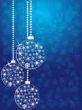 Christmas balls. Christmas white balls on blue background Royalty Free Stock Images
