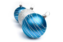 Christmas balls. Blue and silver Christmas balls Stock Photo