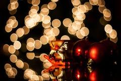 Christmas Balls. Red christmas balls with bokeh Stock Images