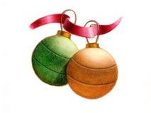 Christmas balls. A couple of christmas balls. Hand drawn illustration Stock Photography