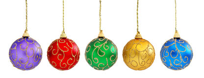 Christmas balls. Colorful Christmas baubles hanging, isolated on white background Stock Images