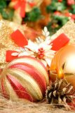 Christmas balls. Christmas composition with gold balls Royalty Free Stock Images