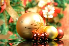 Christmas balls. Beautiful christmas balls over colorful background Royalty Free Stock Image