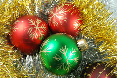 Christmas balls. Chrismas balls on gold and siver background stock photo