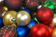 Christmas balls. Chrismas balls on gold and siver background stock photography