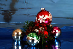 Christmas balls. Christmas bulbs in a pile asortment of colours Stock Photography