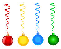 Christmas balls. With ribbons illustrations in four colors vector illustration