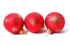 Christmas balls. Red Christmas balls isolated on white royalty free stock images