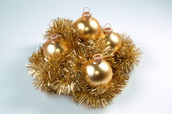 Christmas balls. On light blue background Stock Photos