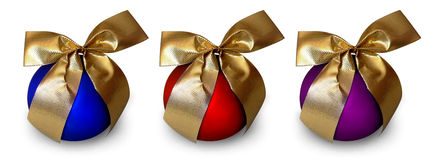 Christmas balls. With gold ribbon  - isolated on white background - easy to change color and apply text on balls surface Royalty Free Stock Image