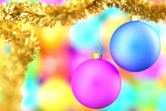 Christmas Balls. Colorful christmas balls over a blurred background royalty free stock photography