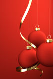 Christmas Balls. And ornaments over a red background vector illustration