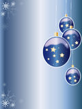 Christmas balls. Christmas blue background with balls and snow flakes Stock Image