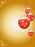 Christmas balls. Christmas gold background with red balls Royalty Free Stock Image