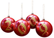 Christmas balls. Image of 3d red christmas balls. White background Stock Photo