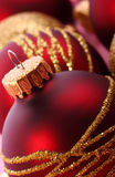 Christmas balls. Christmas red balls with gold pattern Royalty Free Stock Photos