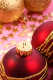 Christmas balls. Christmas red balls with gold pattern Stock Image